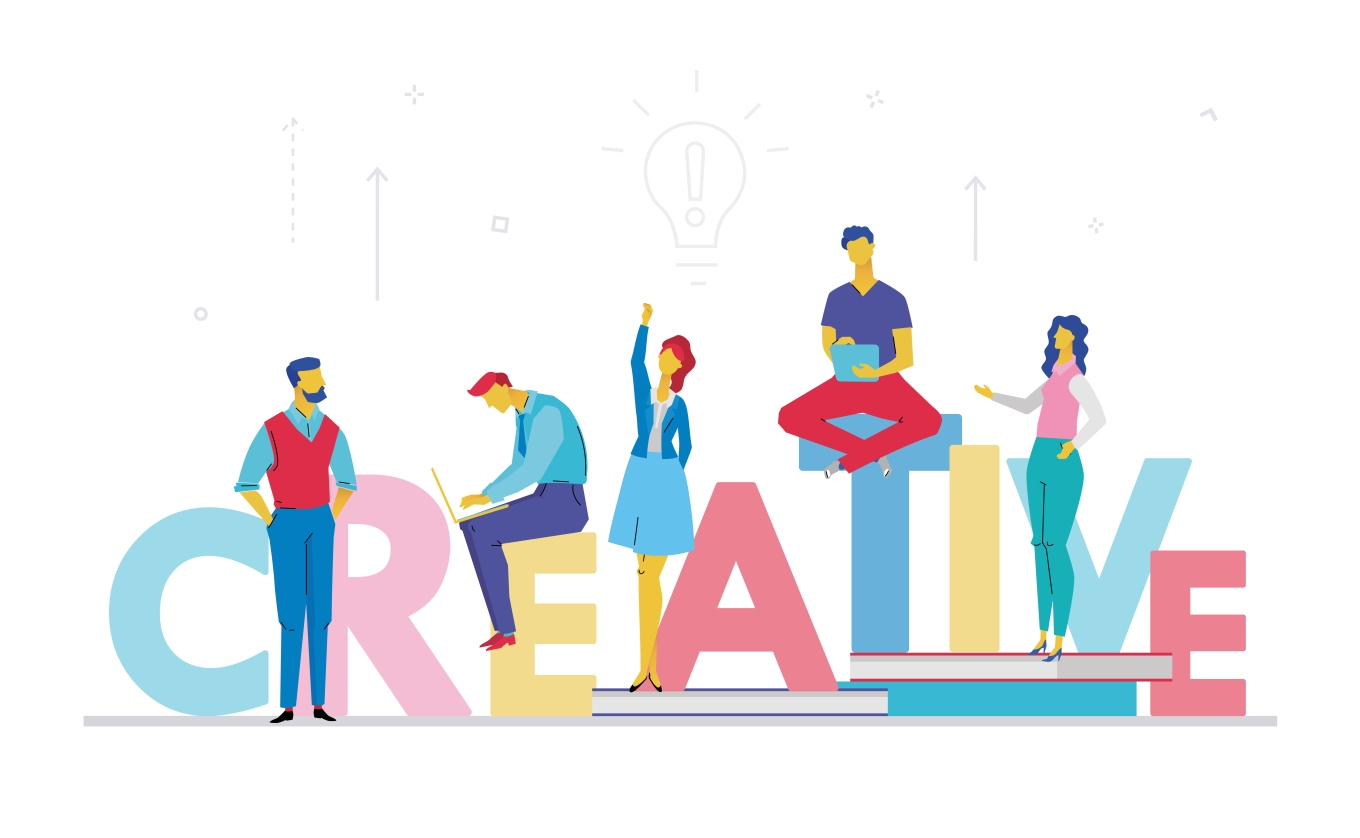 Creative business team - flat design style colorful illustration
